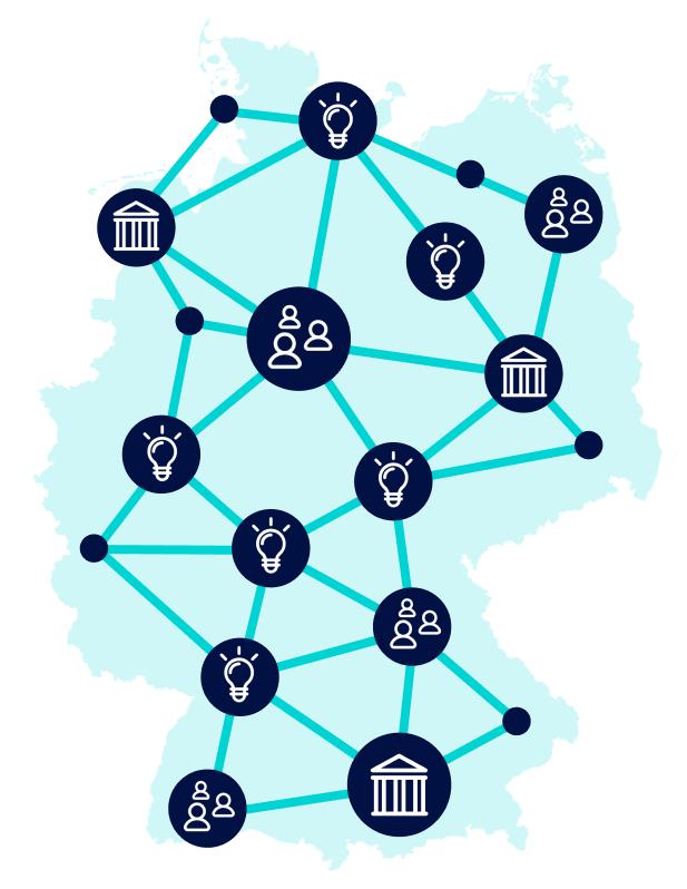 Deutschlandkarte mit vernetzten Knotenpunkten