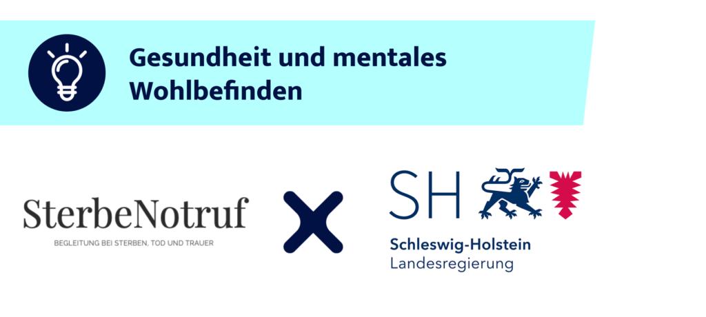 Logos vom SterbeNotruf Deutschland und der Landesregierung Schleswig Holstein